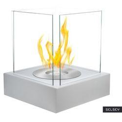 Selsey biokominek cube biały strukturalny marki Globmetal
