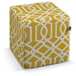 pokrowiec na pufę kostke, białe wzory, żółte tło, kostka 40x40x40 cm, comics marki Dekoria