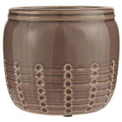 Ib Laursen - Doniczka ceramiczna ze spękanym szkliwem brązowa większa