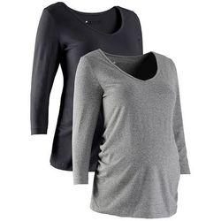 Shirt ciążowy z rękawami 3/4 (2 szt.), bawełna organiczna  czarny + szary melanż, marki Bonprix