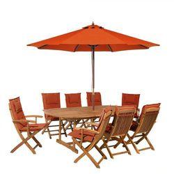 Beliani Zestaw ogrodowy drewniany poduchy ceglaste parasol maui (4260602370727)