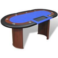 stół do pokera dla 10 graczy z tacą na żetony, niebieski od producenta Vidaxl