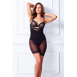 MIRACLESUIT - Sexy Sheer Shaping Hi-Waist Thigh Slimmer, majtki wysokie z siateczkowymi nogawkami ( beżowy M )