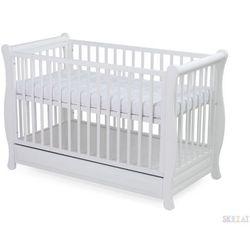 Skrzat gala biała + szuflada, łóżeczko 120x60 najpopularniejsze stylowe łóżeczko niemowlęce