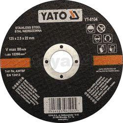Tarcza do cięcia stali nierdzewnej 125x2,5x22 mm / YT-6104 / YATO - ZYSKAJ RABAT 30 ZŁ