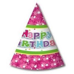 Czapeczki papierowe happy birthday różowe - 6 szt. marki Godan