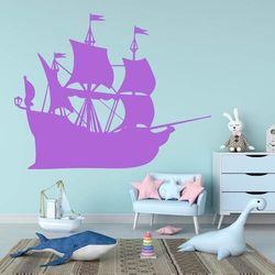 Naklejka welurowa dla dzieci statek piratów 2278