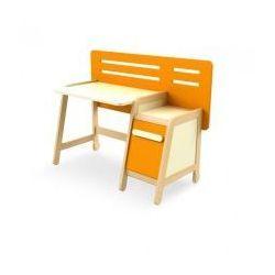 Biurko z kontenerkiem SIMPLE pomarańczowo-kremowe, Timoore - sprawdź w wybranym sklepie
