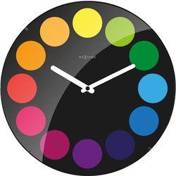 Zegar ścienny Dots Dome Nextime 35 cm, czarny, kolor czarny