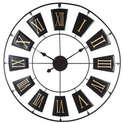 Atmosphera créateur d'intérieur Okrągły zegar, ścienny, wiszący, styl vintage, indriustalny, kolor czarny, cyfry rzymskie, do domu i biura, oryginalna forma,