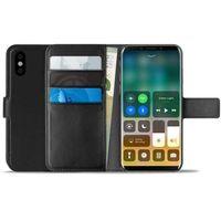 booklet wallet case - etui iphone x z kieszeniami na karty + stand up (czarny) marki Puro