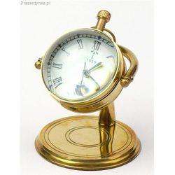Mosiężny zegar stojący biurkowy