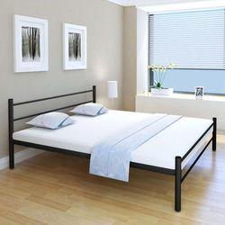 vidaXL Podwójne łóżko metalowe z materacem Memory Foam 180x200cm czarne, kolor czarny