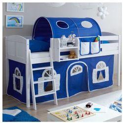 Ticaa kindermöbel Ticaa łóżko z drabinką eric, białe drewno sosnowe country dworek kolor niebiesko-biały