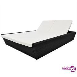 Vidaxl dwuosobowy leżak ogrodowy z poduszką, polirattan, czarny