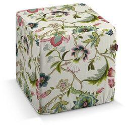 pufa kostka twarda, kolorowe kwiaty na jasnym tle, 40x40x40 cm, londres marki Dekoria