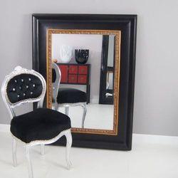 Lustro, styl rustykalny, czarna, drewniana rama, złoty. marki Design by impresje24