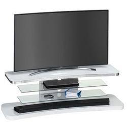 Maja-möbel Stolik pod telewizor, 150 cm, biały, szkło, metal, 77485646