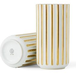 Lyngby Wazon biały ze złotymi żłobieniami 20 cm