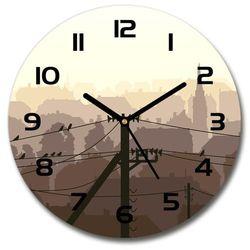 Zegar szklany miasto linia napięcia 30x30 miasto linia napięcia marki Wallmuralia.pl