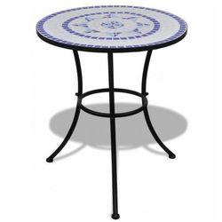 Stolik ogrodowy ceramiczny Valen – niebiesko-biały