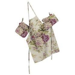Dekoria Komplet kuchenny fartuch,rękawica i łapacz, różowo-wrzosowe kwiaty na lnianym tle, kpl, Londres - produkt z kategorii- Fartuchy kuchenne