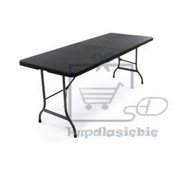 Składany stół ogrodowy rattanowy 180 x 75 cm czarny marki Garthen