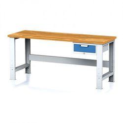 B2b partner Stół warsztatowy mechanic, 2000x700x700-1055 mm, nogi regulowane, 1x szufladowy kontener, 1x szuflada, niebieska