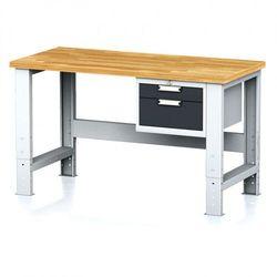 Stół warsztatowy MECHANIC, 1500x700x700-1055 mm, nogi regulowane, 1x szufladowy kontener, 2 szuflady, antracyt