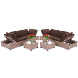 Narożnik technorattanowy  milano brown dark 2 w 1, marki Home&garden