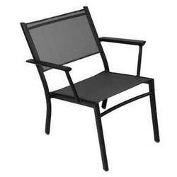 Fotel ogrodowy z podłokietnikami i siateczką Costa Fermob czarny