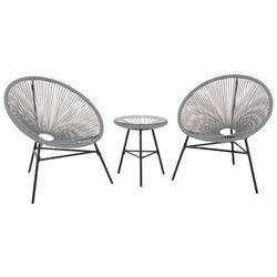 Beliani Meble rattanowe stół z 2 krzesłami jasnoszare acapulco