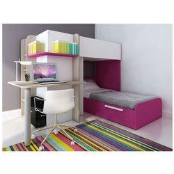Łóżko piętrowe SAMUEL – 2 × 90 × 190 cm – wbudowane biurko – kolor sosna biała i różowy