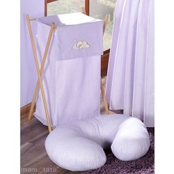 MAMO-TATO Kosz na bieliznę Śpiący miś we fiolecie z kategorii Kosze na pranie