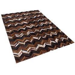 Beliani Dywan brązowy 140 x 200 cm skórzany balat (7105279484940)