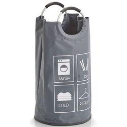 Zeller Szary kosz na pranie z uchwytami, worek na pranie, kosz na pranie tekstylny, pojemnik na pranie, kosz łazienkowy, materiałowy kosz, (4003368142746)