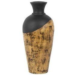 Wazon dekoracyjny czarny/jasne drewno bona marki Beliani