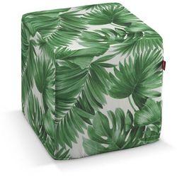 Dekoria Pufa kostka, zielone liście na białym tle, 40 × 40 × 40 cm, Urban Jungle, kolor zielony