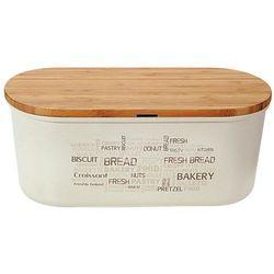 Bambusowy chlebak z deską do krojenia w kremowym kolorze, stylowy i praktyczny pojemnik na pieczywo