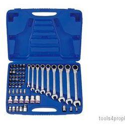 King tony Zestaw kluczy płasko-oczkowych z grzechotką jednokierunkową, nasadek i bitów 62cz. 8 - 19mm z ak