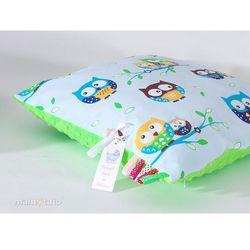 Mamo-tato poduszka minky dwustronna 40x40 sówki błękitne / jasna zieleń