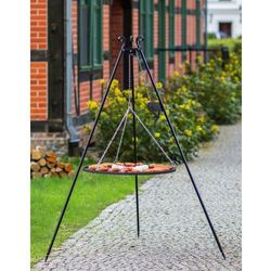 Grill na trójnogu z rusztem ze stali czarnej 180 cm / 50 cm średnica + kołowrotek (5900105401878)