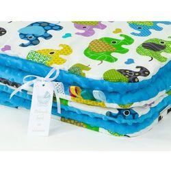 komplet kocyk minky do wózka + poduszka słoniaki zielone / niebieski marki Mamo-tato