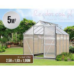 Szklarnia aluminiowa poliwęglan 5m² - fundament Kolor : Aluminium
