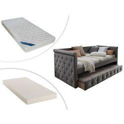 Łóżko wysuwane LOUISE – 2 × 90 × 190 cm, w zestawie z materacem ZEUS 90 × 190 cm