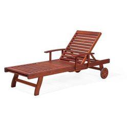 Leżanka ogrodowa drewniana na kółkach poducha szaro-beżowa TOSCANA (4260586359794)