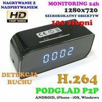Kamera HD WiFi/P2P (Zasięg Cały Świat!) Ukryta w Zegarku Biurkowym + Zapis + Detekcja Ruchu...