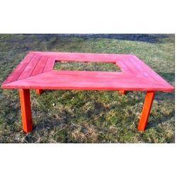 Emaga Stół drewniany piotr 143x304 cm, prostokątny z otworem