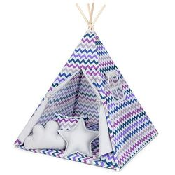 namiot tipi duży z matą i poduszkami zygzak fiolet / popiel marki Mamo-tato