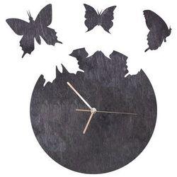 Congee.pl Drewniany zegar na ścianę motyle ze złotymi wskazówkami (5907509933233)